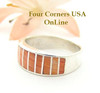 Orange Spiny Oyster Inlay Band Ring Size 6 Native American Ella Cowboy Silver Jewelry WB-1520