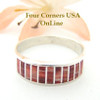Red Spiny Oyster Inlay Band Ring Size 10 3/4 Native American Ella Cowboy Silver Jewelry WB-1522