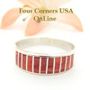 Red Spiny Oyster Inlay Band Ring Size 10 1/4 Native American Ella Cowboy Silver Jewelry WB-1523