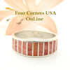 Red Spiny Oyster Inlay Band Ring Size 7 Native American Ella Cowboy Silver Jewelry WB-1530