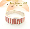 Red Spiny Oyster Inlay Band Ring Size 6 1/2 Native American Ella Cowboy Silver Jewelry WB-1531