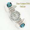 Men's Turquoise Sterling Silver Watch Native American Navajo Jerry Cowboy On Sale Now at Four Corners USA OnLine Jewelry