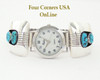 Men's Turquoise Sterling Silver Watch Native American Navajo Jerry Cowboy NAW-1421 On Sale Now at Four Corners USA OnLine Jewelry