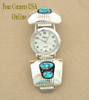 Men's Turquoise Sterling Silver Watch Native American Navajo Jerry Cowboy NAW-1421 Four Corners USA OnLine Jewelry