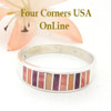 Multi Color Spiny Oyster Shell Inlay Band Ring Size 12 1/2 Native American Ella Cowboy Four Corners USA OnLine Navajo Silver Wedding Jewelry WB-1540