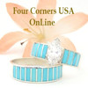 Size 9 Turquoise Inlay Navajo Wedding Engagement Ring Set Ella Cowboy WS-1478 Four Corners USA OnLine Native American Jewelry