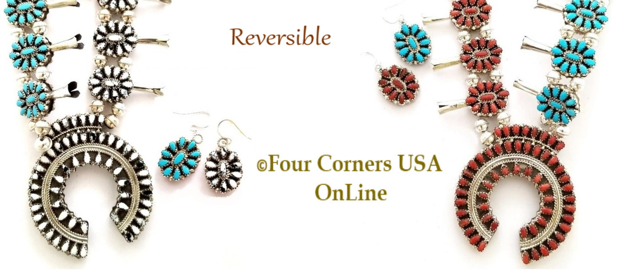 On Sale Now! Reversible Petit Point Squash Blossom Necklace Earring Jewelry Sets Four Corners USA OnLine Native American Jewelry Southwest Beading Supplies