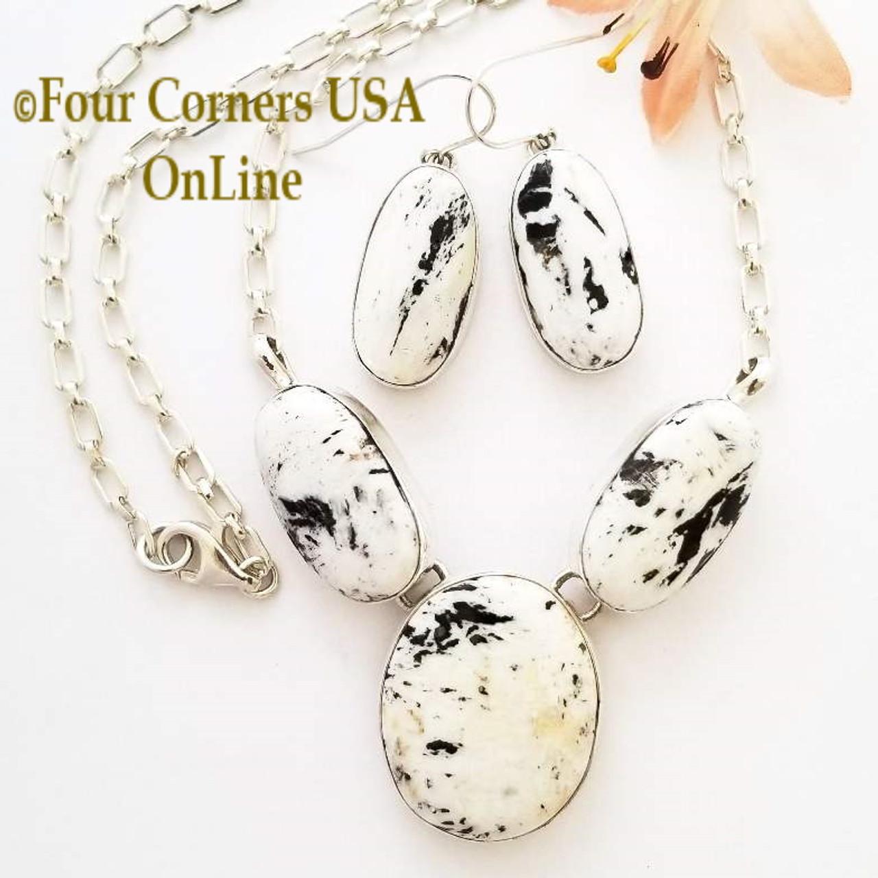 3 Stone White Buffalo Turquoise Necklace Earring Jewelry Set Navajo Lyle  Piaso NAN-1434 Special Buy Final Sale