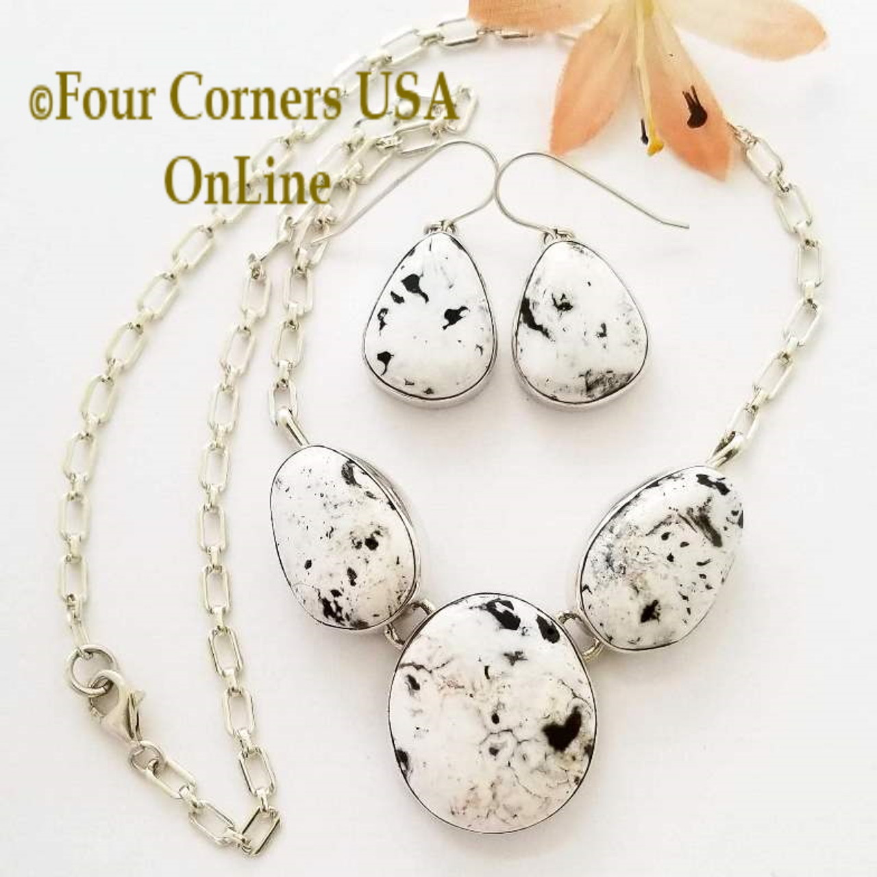 3 Stone White Buffalo Turquoise Necklace Earring Jewelry Set Navajo Lyle  Piaso NAN-1441 Special Buy Final Sale