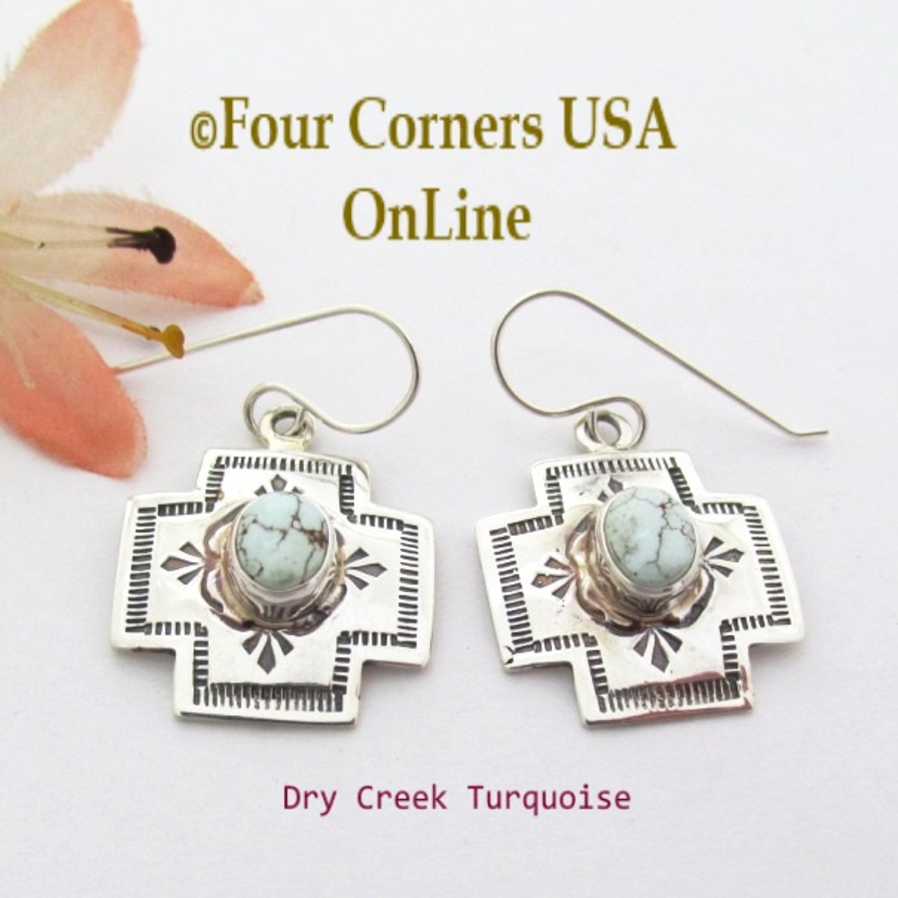 Dry Creek Turquoise Stamped Cross Earrings Navajo Silver Jewelry NAER-1544