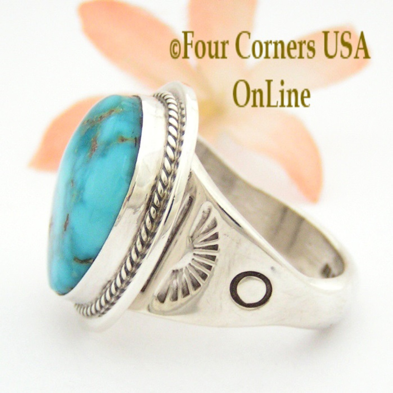 Size 12 Fox Mountain Turquoise Men's Ring Native American ...