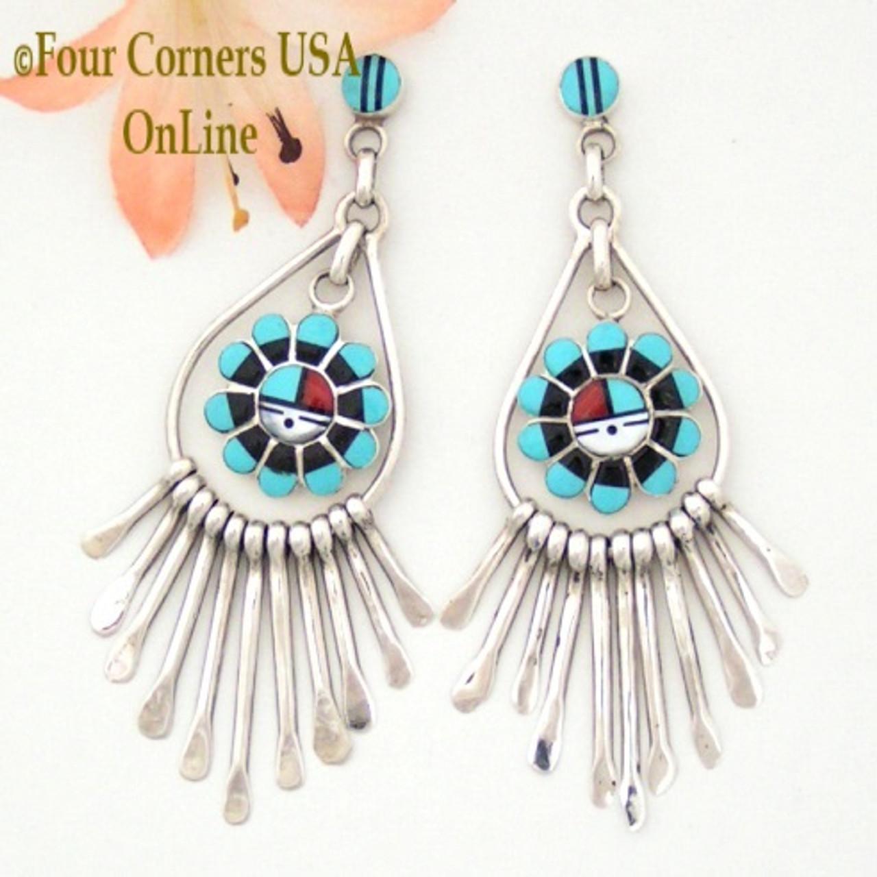 Unkestine Zuni Indian Jewelry Sterling Silver Turquoise Post Dangle Earrings