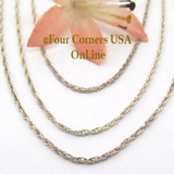 16 inch 1.35mm Sterling Silver Rope Chain with Spring Clasp CHAIN-007 Four Corners USA OnLine