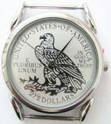 Men's Eagle Two and a Half Dollar Replica Watch Face Silvertone Stainless Steel Back 18mm Pin