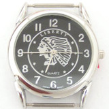 Men's Indian Chief Headdress Stainless Steel Back Black Watch Face 18mm Pin (NAWF-BHEAD-M)