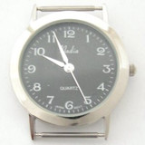 Men's Elegant Black Face Silvertone Wide Rim Stainless Steel Watch Face 18mm (NAWF-BLACK-M)