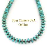 Graduated Kingman Turquoise Heishi Bead 21 Inch Necklace Four Corners USA OnLine Jewelry FCN-13014