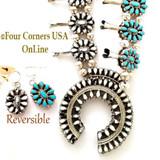 White Buffalo Turquoise Reversible Squash Blossom Jewelry Set