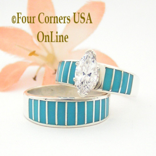 Size 9 Turquoise Inlay Wedding Engagement Ring Set Four Corners USA Online Native American Navajo Ella Cowboy WS-1486