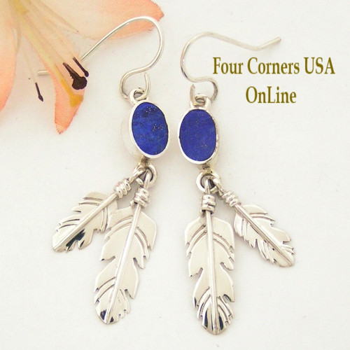 Lapis Lazuli Double Feather Dangle Earrings On Sale Now Four Corners USA OnLine Native American Silver Jewelry NAER-1450