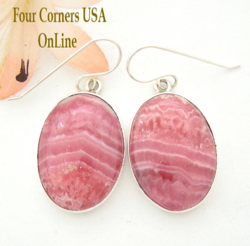 Rhodochrosite Sterling Earrings Navajo Artisan Shirley Henry Four Corners USA OnLine Native American Jewelry Collection NAER-1452
