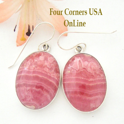 Large Rhodochrosite Sterling Earrings Navajo Artisan Shirley Henry Native American Jewelry NAER-1453 Four Corners USA OnLine Shopping Store