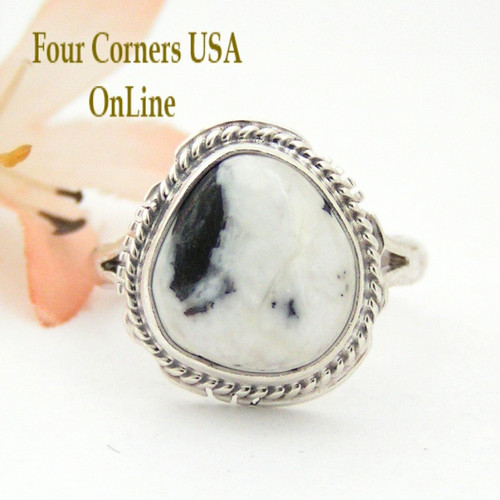 Size 8 3/4 White Buffalo Turquoise Ring Navajo Artisan Larson L Lee Silver Jewelry NAR-1522 Four Corners USA OnLine Native American Silver Jewelry