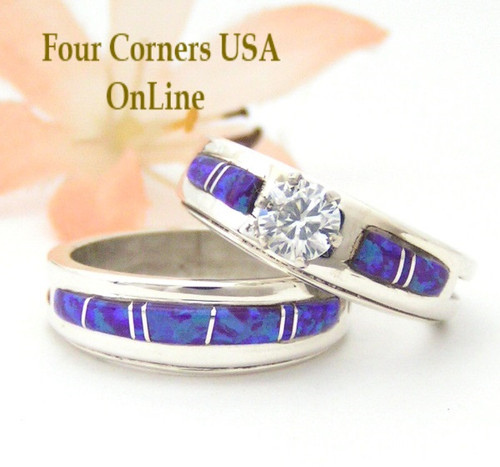 Size 7 Purple Fire Opal Engagement Bridal Wedding Ring Set Navajo Silversmith Wilbert Muskett Jr Four Corners USA OnLine Native American Silver Jewelry WS-1489