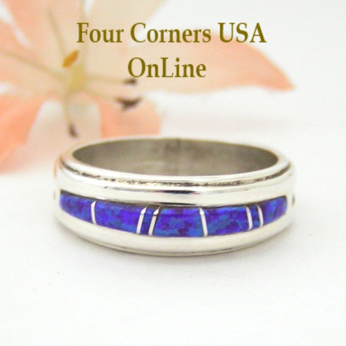 Purple Fire Opal Inlay Band Ring Size 7 Four Corners USA OnLine Native American Silver Jewelry by Navajo Wilbert Muskett Jr WB-1550