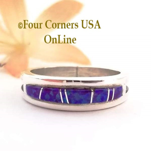Size 10 Purple Fire Opal Inlay Ring Native American Wilbert Muskett Jr WB-1564 Four Corners USA OnLine Navajo Silver Jewelry