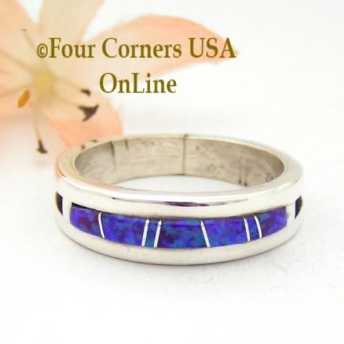 Size 11 Purple Fire Opal Inlay Ring Native American Wilbert Muskett Jr WB-1568 Four Corners USA OnLine Navajo Silver Wedding Jewelry