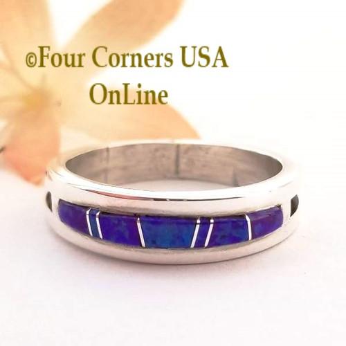 Size 12 Purple Fire Opal Inlay Ring Native American Navajo Wilbert Muskett Jr WB-1573 Four Corners USA OnLine Jewelry