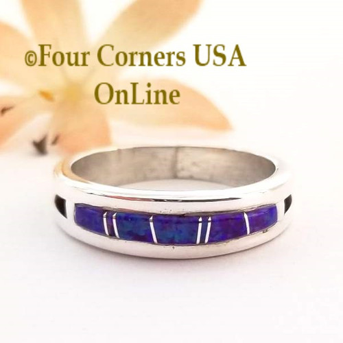Size 12 1/2 Purple Fire Opal Inlay Ring Native American Wilbert Muskett Jr WB-1575 Four Corners USA Online Navajo Silver Jewelry