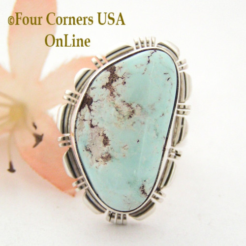 Size 8 Dry Creek Turquoise Sterling Ring Navajo Silversmith Robert Concho Four Corners USA OnLine Native American Indian Silver Jewelry NAR-1527