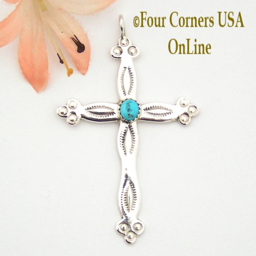 Turquoise Sterling Silver Stamped Cross Pauline Nelson Four Corners USA OnLine Native American Indian Navajo Jewelry NACR-1412