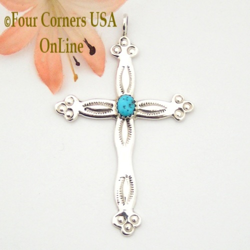 Turquoise Sterling Silver Stamped Cross Pauline Nelson Four Corners USA OnLine Native American Indian Navajo Jewelry NACR-1413