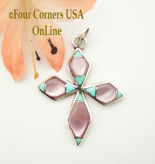On Sale Now Turquoise and Pink Mother of Pearl Inlay Cross in Sterling Silver Four Corners USA OnLine Native American Zuni James Kee NACR-1414