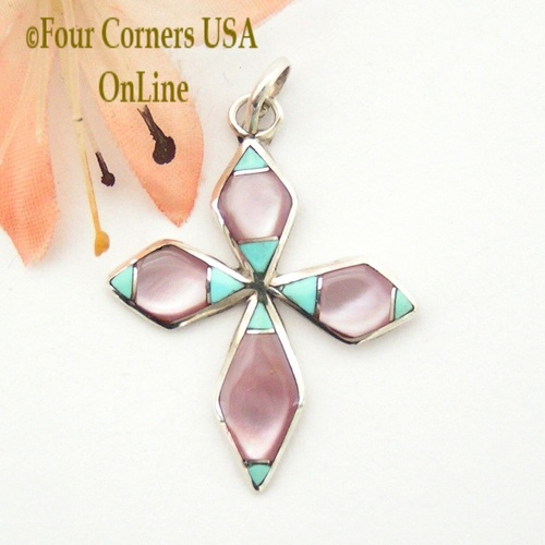 Turquoise and Pink Mother of Pearl Inlay Cross in Sterling Silver Four Corners USA OnLine Native American Indian Zuni James Kee NACR-1414