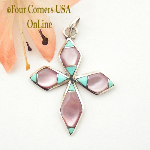 Turquoise and Pink Mother of Pearl Inlay Cross in Sterling Silver On Sale Now Four Corners USA OnLine Native American Zuni James Kee NACR-1414