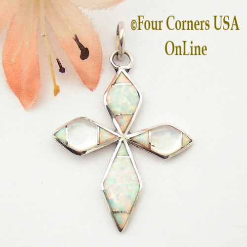 Fire Opal and White Mother of Pearl Inlay Cross in Sterling Silver On Sale Now Four Corners USA OnLine Native American Zuni James Kee NACR-1415