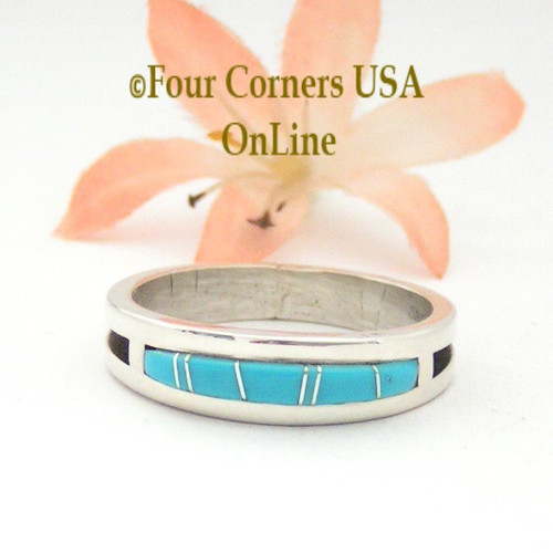 Size 14 Turquoise Inlay Band Ring Four Corners USa Online Native American Navajo Silver Jewelry Wilbert Muskett Jr WB-1593
