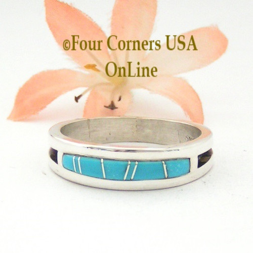 Size 14 Turquoise Inlay Mens Ring Native American Navajo Wilbert Muskett Jr Four Corners USA OnLine Jewelry WB-1594