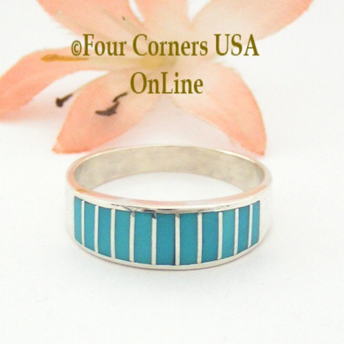 Turquoise Channel Inlay Navajo Wedding Band Ring Size 10 1/2 WB-1596 Four Corners USA OnLine Native American Silver Jewelry