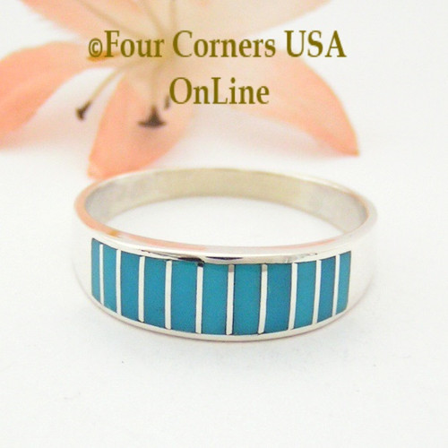 Turquoise Channel Inlay Navajo Wedding Band Ring Size 13 WB-1601 Four Corners USA OnLine Native American Silver Jewelry