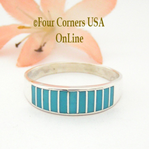 Turquoise Channel Inlay Navajo Wedding Band Ring Size 13 1/2 WB-1602 Four Corners USA OnLine Native American Silver Jewelry
