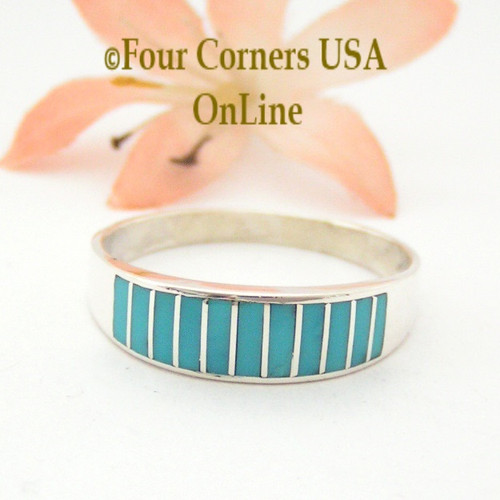 Turquoise Channel Inlay Navajo Wedding Band Ring Size 14 WB-1603 Four Corners USA OnLine Native American Silver Jewelry
