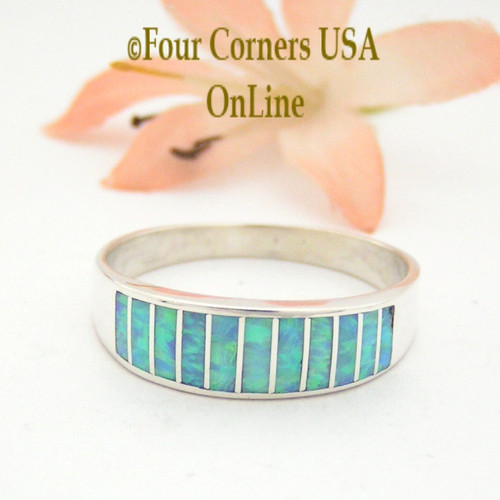 Size 13 Light Blue Fire Opal Inlay Wedding Band Ring Ella Cowboy WB-1609 Four Corners USA OnLine Native American Jewelry