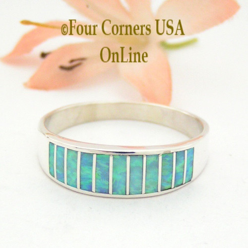 Size 13 1/2 Light Blue Fire Opal Inlay Wedding Band Ring Ella Cowboy WB-1610 Four Corners USA OnLine Native American Jewelry