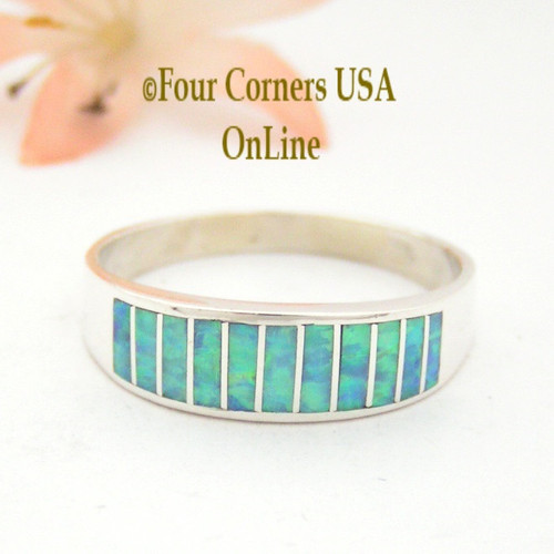 Size 14 Light Blue Fire Opal Inlay Wedding Band Ring Ella Cowboy WB-1611 Four Corners USA OnLine Native American Jewelry