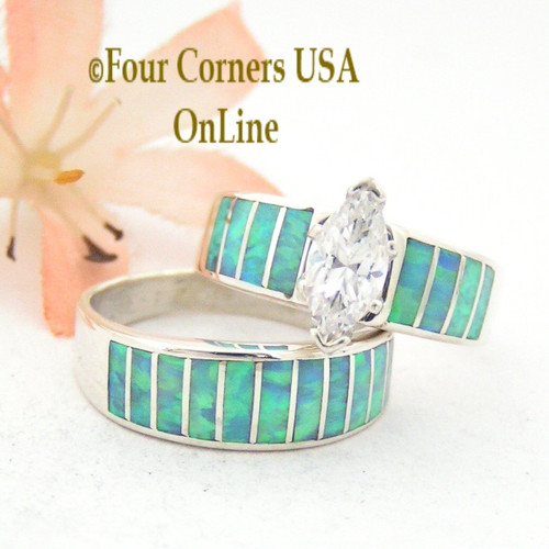 Size 9 Light Blue Fire Opal Wedding Engagement Ring Set Ella Cowboy WS-1515 Four Corners USA OnLine Native American Jewelry